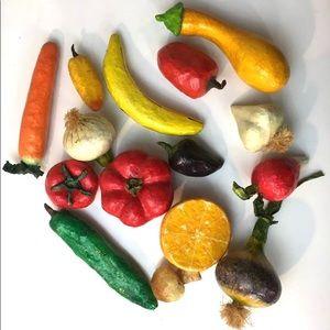 15 Pieces Vintage Paper Mache Fruit Vegetables